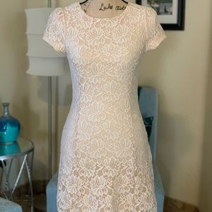 Fitted, lace, mini dress